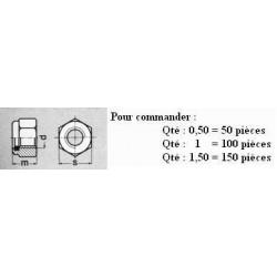 ECROU M16 NYLSTOP DIN 985 CL6 (8) ( prix aux 100 pièces ) Boitage 100